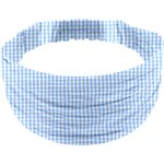 Headscarf headband- child size sky blue gingham - PPMC