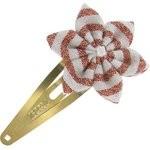 Barrette clic-clac fleur étoile rayures cuivrées - PPMC