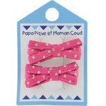 Small ribbons hair clips fuchsia gold star - PPMC