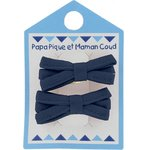 Small ribbons hair clips navy blue - PPMC