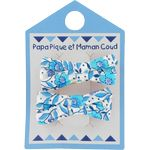 Small ribbons hair clips azure mini flower - PPMC