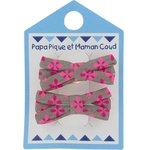 :Pasadores clip 2 listones pétalos gris rosas - PPMC