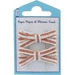 Small ribbons hair clips copper stripe - PPMC