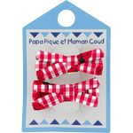 Small ribbons hair clips ladybird gingham - PPMC