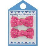 Small bows hair clips fuchsia gold star - PPMC