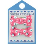 Small bows hair clips small flowers pink blusher - PPMC