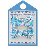 Small bows hair clips azure mini flower - PPMC