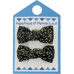 Small bows hair clips noir pailleté - PPMC