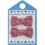 Small bows hair clips grey pink petals - PPMC