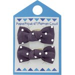 Small bows hair clips plum spots - PPMC