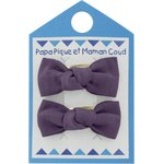 Small bows hair clips plum - PPMC