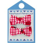 Small bows hair clips ladybird gingham - PPMC