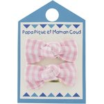 Small bows hair clips pink gingham - PPMC