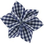 Star flower 4 hairslide navy blue gingham - PPMC