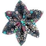Pasador flor estrella flor verde azul - PPMC