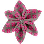 Star flower 4 hairslide grey pink petals - PPMC