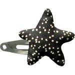 barrette clic-clac étoile noir pailleté - PPMC