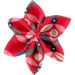 Barrette fleur étoile 4 pétale paprika - PPMC