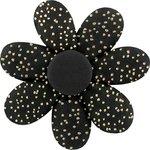Barrette fleur marguerite noir pailleté - PPMC