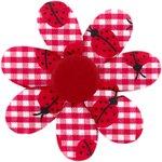 Pasador flor margarita  cuadros vichy rojo y mariquitas - PPMC