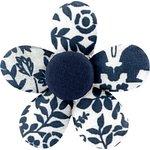 Petite barrette mini-fleur scandinave marine - PPMC