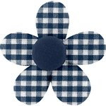 Mini flower hair slide navy blue gingham - PPMC