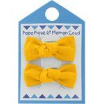 Small bows hair clips yellow ochre - PPMC