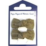Small bows hair clips gold linen - PPMC