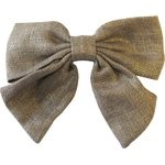 Bow tie hair slide gold linen - PPMC