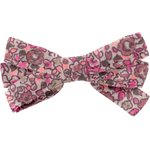 Barrette noeud ruban lichen prune rose - PPMC