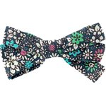 Ribbon bow hair slide green azure flower - PPMC