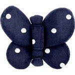 Barrette petit papillon pois marine - PPMC