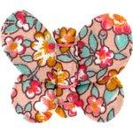 Barrette petit papillon floral pêche - PPMC