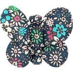 Barrette petit papillon milli fleurs vert azur - PPMC