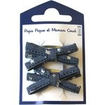 Small ribbons hair clips silver star jeans - PPMC