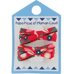 Small ribbons hair clips paprika petal - PPMC