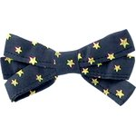 Ribbon bow hair slide navy gold star - PPMC