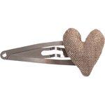 Heart hair-clips copper linen - PPMC