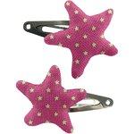 Barrettes clic-clac étoile etoile or fuchsia - PPMC