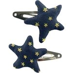 Star hair-clips navy gold star - PPMC