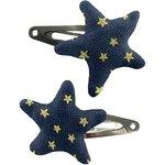 Barrettes clic-clac étoile etoile or marine  - PPMC