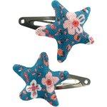 Barrettes clic-clac étoile fleuri nude ardoise - PPMC