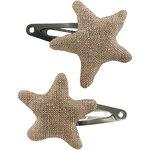 Barrettes clic-clac étoile lin or - PPMC