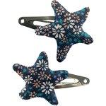 Barrettes clic-clac étoile paquerette marine - PPMC