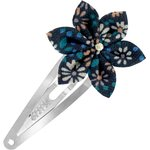 Barrette clic-clac fleur étoile paquerette marine - PPMC
