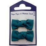 Barrettes clic-clac petits noeuds bleu vert - PPMC