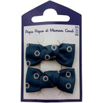Small bows hair clips bulle bronze marine - PPMC