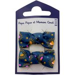 Small bows hair clips glittering heart - PPMC
