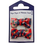 Small bows hair clips vermilion foliage - PPMC