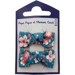 Small bows hair clips fleuri nude ardoise - PPMC